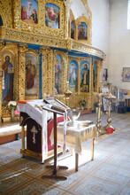 Kyiv, Ukraine - October 10, 2020 : Interior Of The Church. Interesting, Architectural Monument.Praparation For Christening.