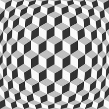Abstract Grid Of Cubes With Distortion Effect. Optical Illusion. Digital Geometric Style. Backdrop For Business Cards And Covers
