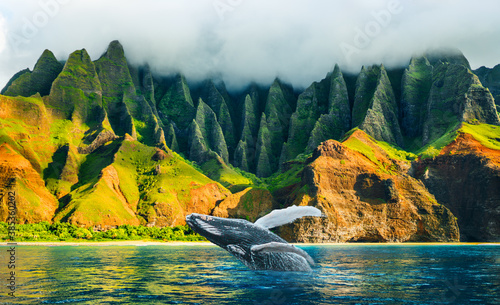 Whale watching sunset cruise tour at Na Pali Coast, Kauai island, Hawaii travel destination Fototapeta