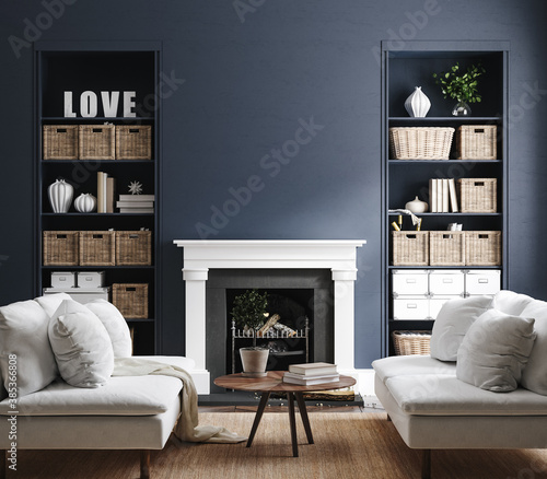 Obraz Eclectic home interior in classic blue color, 3d render - fototapety do salonu