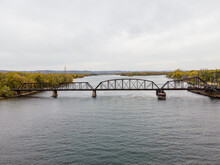 Swing Railroad Bridge Over The Mississippi River Between Wisconsin And Minnesota During Autumn