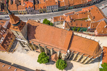 Aerial View Of Biserica Neagră Or Black Church In The City Of Brasov, Romania.