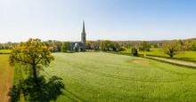 Panoramic Aerial View Of South Dalton Church, East Yorkshire UK