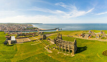 Aerial View Of Whitby Abbey Ruin, Whitby, UK.