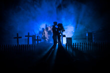 Horror Halloween Concept. Scary Zombie Bride On A Night Cemetery.