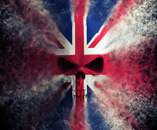 Angry British Flag Skull - Particle FX - 3D Illustration