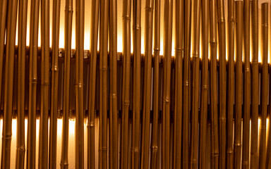 bamboo branches painted in golden colors with backlight. Wall decoration, lamp. Full frame close-up photo. Space for text. Abstract background and texture.