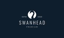 Bird Swan Or Goose Head Silhouette Circle Logo Vector Illustration Design