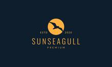 Bird Seagull Fly On Sunset Logo Vector Illustration Design