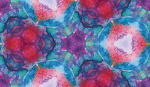 Red, Purple, Lilac, Yellow   And Blue Watercolor Kaleidoscopic Seamless Pattern For Textile, Surface, Fashion, Interior Design. Acrylic Gouache Pattern Background. Geometrical Design Textile