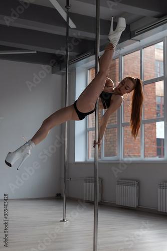 Fotografia Slim woman dancing on pole