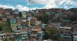 Drone aerial rising footage of houses and Escalators in Comuna 13 Neighborhood, Medellin, Colombia