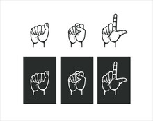 An Image Of A Hand Symbol Or ASL Sign Vector.