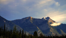 Alberta, Canada - Mountain Peaks Looming Over Snaring Overflow Campground