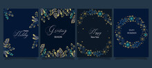 Navy Blue Happy Season Greeting And New Year Vector Background With Deco Element