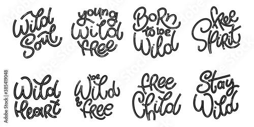 Foto Wild lettering popular phrase set