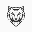tiger head face logo MONOCHROME vector icon template