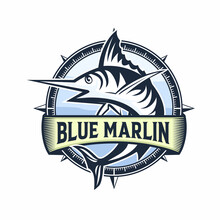 Blue Marlin  Logo. Unique And Fresh Blue Marlin Vector & Logo Template. Great To Use To Your Blue Marlin Fishing Activity.