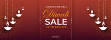 Diwali Sale Header Or Banner Design With 50% Discount Offer And Hanging Paper Cut Oil Lamps (Diya) On Brown Background.