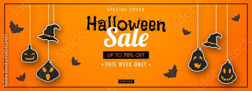 Fotografie, Obraz Halloween Sale Header or Banner Design with 70% Discount Offer, Flying Bats, Sticker Style Witch Hat and Jack-O-Lanterns Hang on Orange Background