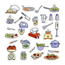 A Set Of Items, Cooking Appliances. Kitchen Utensil. Various Food. Vector Colored Outline Icons.
