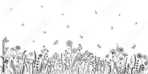 Fototapeta Wildflowers and grasses with various insects. Fashion sketch for various design ideas. Monochrom print. obraz