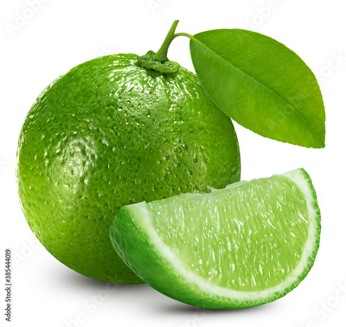 Fresh juicy lime with leaves on a white background
