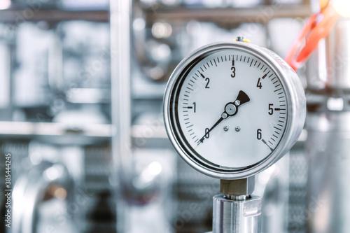 Obraz Pressure gauges mounted on the pipeline. - fototapety do salonu