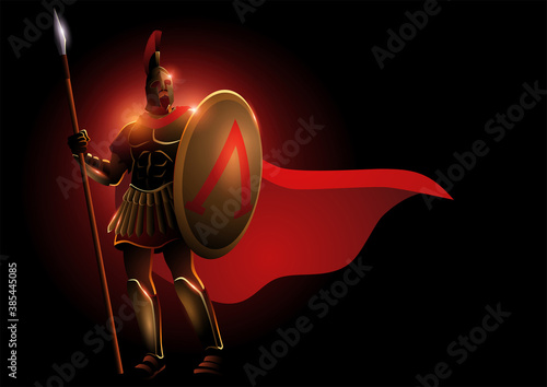Fotografia, Obraz Spartan warrior wearing helmet and red cloak