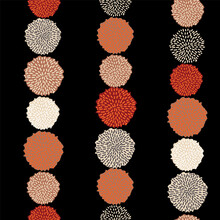 Vector Pom Pom Bobble Seamless Pattern, Trendy Color, Fall 2020, Grey, Orange, Black, Almond, Wine Red. Hanging Strings.