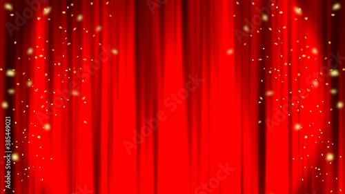 Valokuvatapetti 赤いカーテン ステージカーテン スポットライト 紙吹雪 Red curtain material