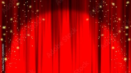 赤いカーテン ステージカーテン スポットライト 紙吹雪 Red curtain material Fototapete