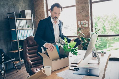 Obraz na plátně Profile photo of upset fired worker mature aged guy laid off manager loser lost