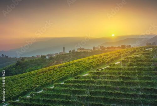 Prosecco Hills, vineyards and San Pietro di Barbozza village. Valdobbiadene, Veneto, Italy