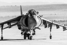 Barcelona, Spain; August 8, 2018: Classic Army Air Plane In The Show. AV-8B Harrier II