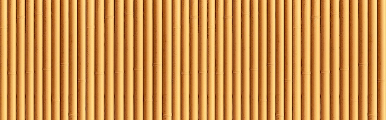 Panorama of Bamboo wall or Bamboo fence texture. Old brown tone natural bamboo fence texture background