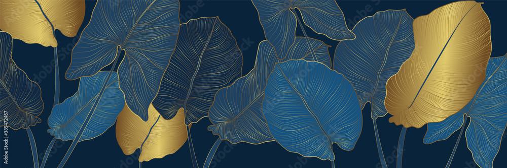 Fototapeta Luxury gold and nature blue background vector. Floral pattern, Golden split-leaf Philodendron plant with monstera plant line arts, Vector illustration.