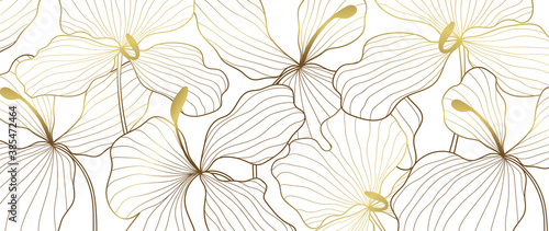 Luxury elegant gold orchids Flower line arts pattern   on white background. Topical flower wallpaper design, Fabric, surface design. Vector illustration.