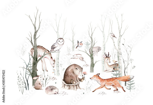 Obraz Woodland animals set. Owl, hedgehog, fox and butterfly, Bunny rabbit set of forest squirrel and chipmunk, bear and bird baby animal, Scandinavian Nursery wolf watercolor kids poster design - fototapety do salonu