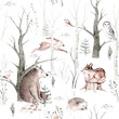 Watercolor Woodland animal Scandinavian seamless pattern. Fabric wallpaper background with Owl, hedgehog, fox and butterfly, rabbit forest squirrel and chipmunk, bear and bird baby animal,