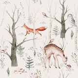 Watercolor Woodland animal Scandinavian seamless pattern. Fabric wallpaper background with Owl, hedgehog, fox and butterfly, rabbit forest squirrel and chipmunk, bear and bird baby animal, - 385473632