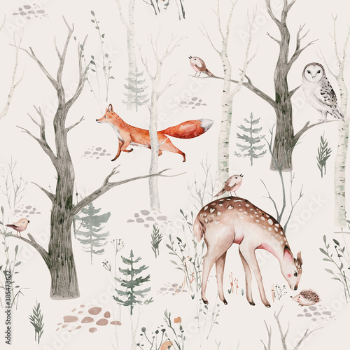 Obraz Watercolor Woodland animal Scandinavian seamless pattern. Fabric wallpaper background with Owl, hedgehog, fox and butterfly, rabbit forest squirrel and chipmunk, bear and bird baby animal, - fototapety do salonu