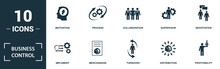 Business Control Icon Set. Monochrome Sign Collection With Motivation, Process, Collaboration, Supervisor And Over Icons. Business Control Elements Set.