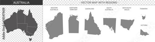 Fototapeta vector political maps of Australia with regions on white background