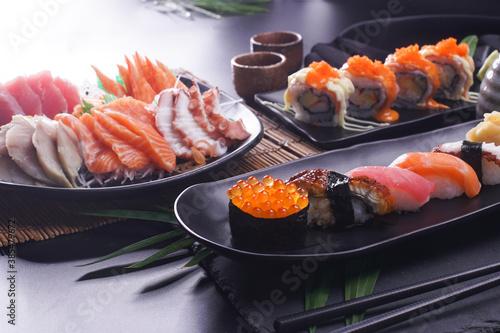Obraz na plátně Sashimi and sushi Japanese food set