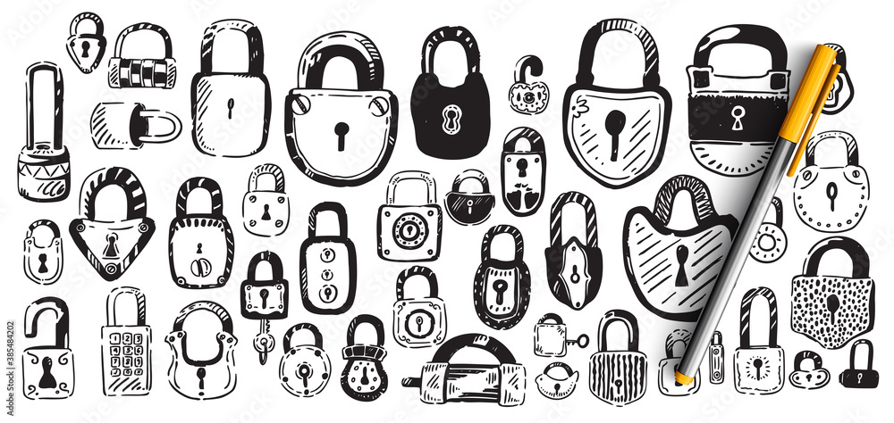 Fototapeta Locks doodle set. Collection of hand drawn sketches patterns templates of different shape metal door padlocks on white background. Safety protective equipment from robbery illustration