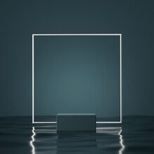 3D Background,  Podium, Display With Water. Dark Blue And Silver Pedestal With Square Frame. Abstract Minimal Geometric, Studio Scene For Male Product Presentation Or Text. Branding 3D Render