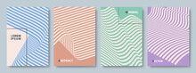Set Of Striped Cover Templates In Muted Colors. Vector Flat Design Backgrounds.