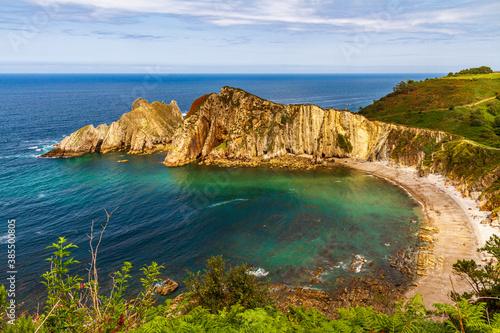 Paisaje con los acantilados y playas de la costa asturiana Wallpaper Mural
