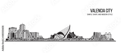 Cityscape Building Abstract shape and modern style art Vector design - Valencia city